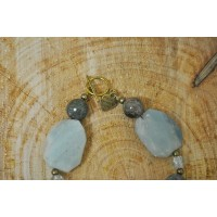 Amazonite and snake skin Agate necklace and bracelet