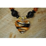 Black Onyx with Sardonyx with Glass Heart Pendant