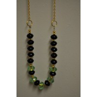 Black Onyx and Peridot Crystal Gold Tone Necklace