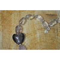 Chunky Amethyst nugget heart necklace