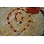 Coral and Carnelian flower clasp set
