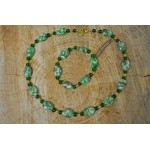 Green Shell and Crystal Necklace and bracelet  set