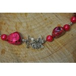 Hot Pink Imperial Jasper Flower Clasp Necklace