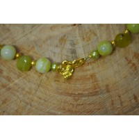 Lime Jade Nuggets and bead Necklace