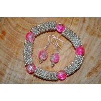 Snowflake Stretch cracked quartz Bracelet and Earings Set - Links of London Style