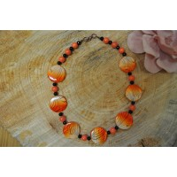 Orange Tiger Print Mother of Pearl Necklace