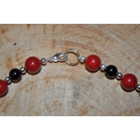 Red Shell pearl, Black Agate necklace with silver plated spacers and decorative bead