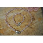 Rose Quartz Silver Flower Clasp