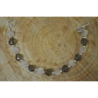 Rose and Smokey Quartz Heart  Bracelet