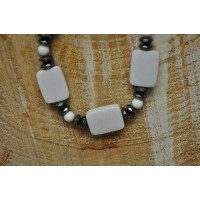 White Agate slab and Hematite Chain Necklace