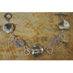 Faceted Amethyst Silver Heart Bracelet
