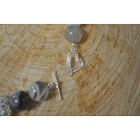 Botswana Agate  and silver necklace and bracelet set
