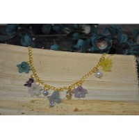 Flower and Crystal Cham Bracelet