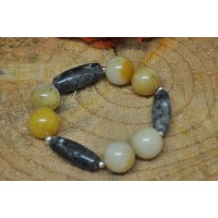 Jade and Labradorite stretch bracelet