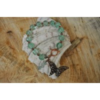 Aqua Crackle Quartz Butterfly Charm Bracelet