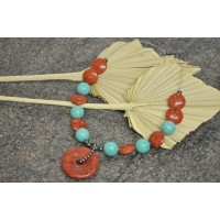 Turquoise and Coral feature necklace