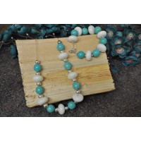 Turquoise and white Agate chunky set.