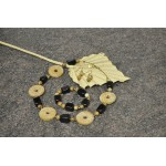 Coral fossil, Picture Jasper, Black Agate necklace,  bracelet and earrings set.