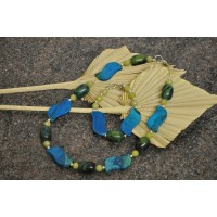 Handmade Lapis, Turquoise and Lime Jade set