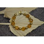 Beautiful honey yellow crystal and gold tone bracelet