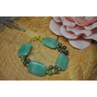 Green Aventurine and Chinese Jade Bracelet