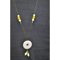 Yellow and White Long Pendant Necklace