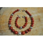 Graduated red Coral and silver bead necklace set
