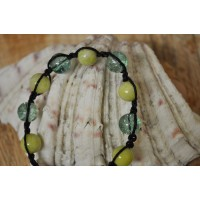 Yellow Jade and Quartz Shamballa  Bracelet