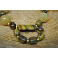 Tigers Eye and Honey Jade earrings and necklace set
