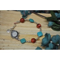 Turquoise and Coral watch bracelet